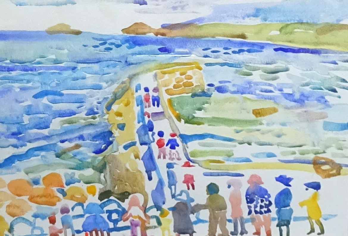 Lot 014 - Fred Yates (1922-2008), watercolour 'Figures at a Pier', framed and glazed 25cm x 34cm.