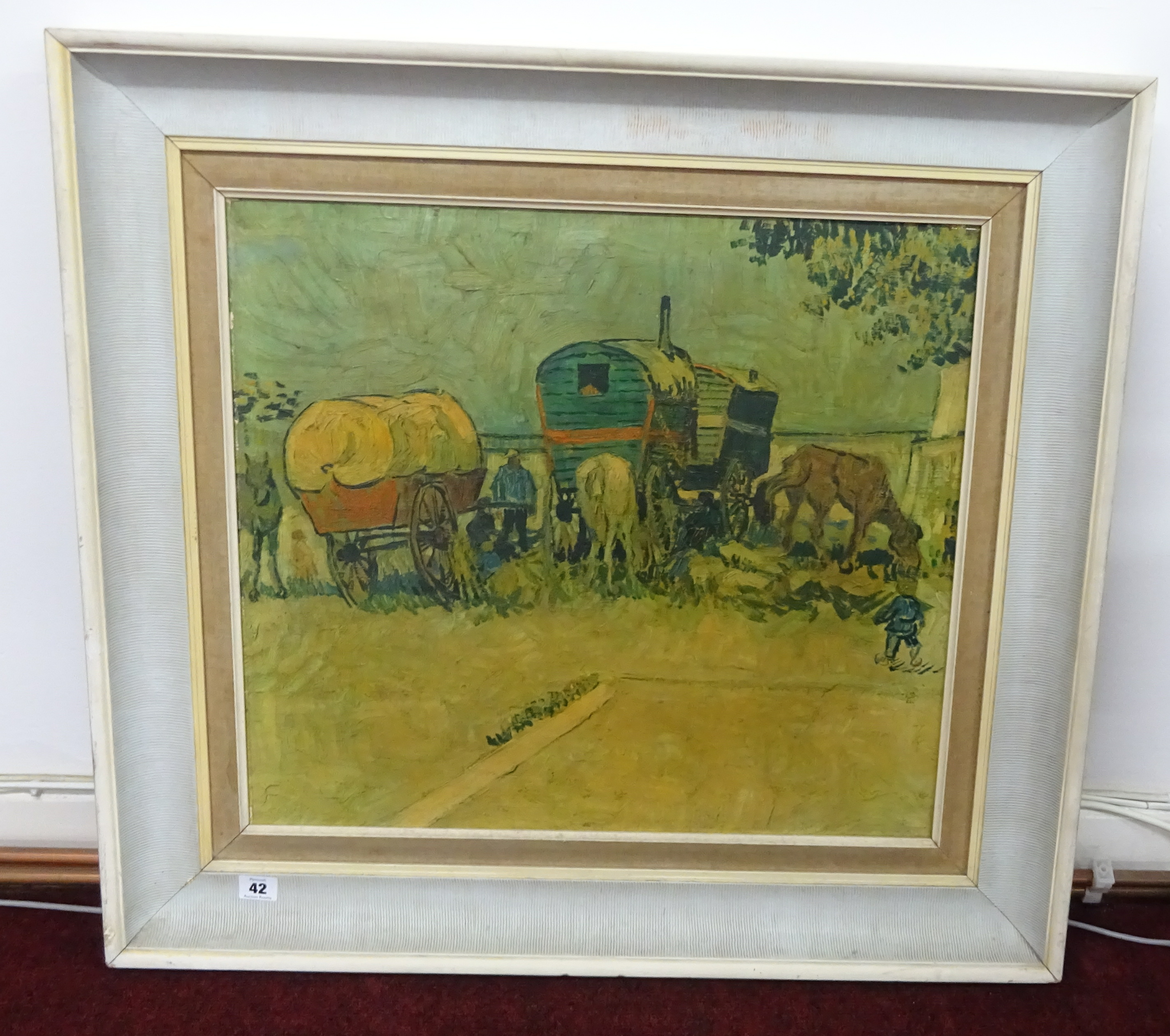 Lot 042 - Gypsy Caravan, oil on canvas, 49cm x 55cm.