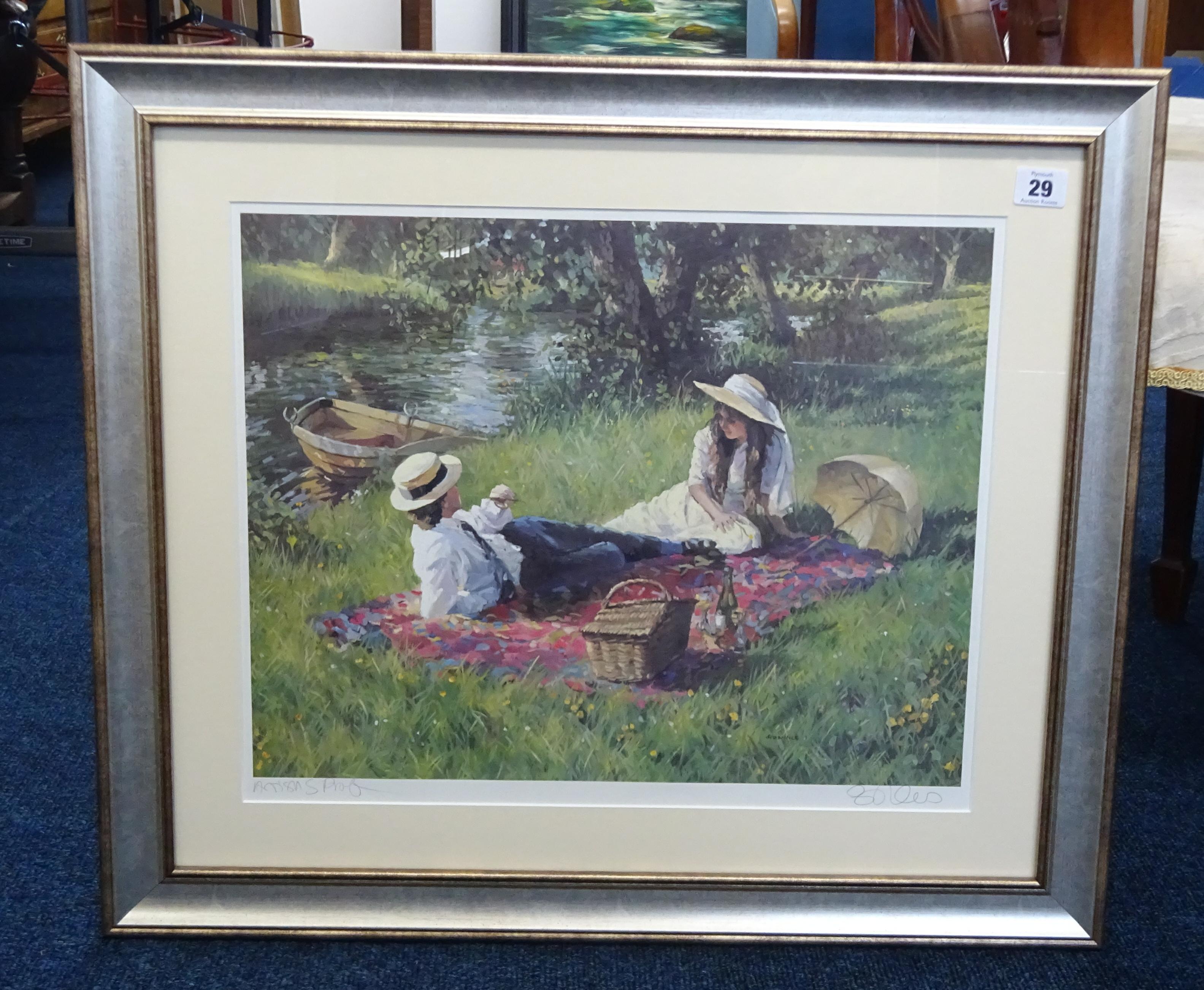 Lot 029 - Sherree Valentine Daines, signed Artist Proof print 'Summer Lake' framed, 38cm x 55cm.