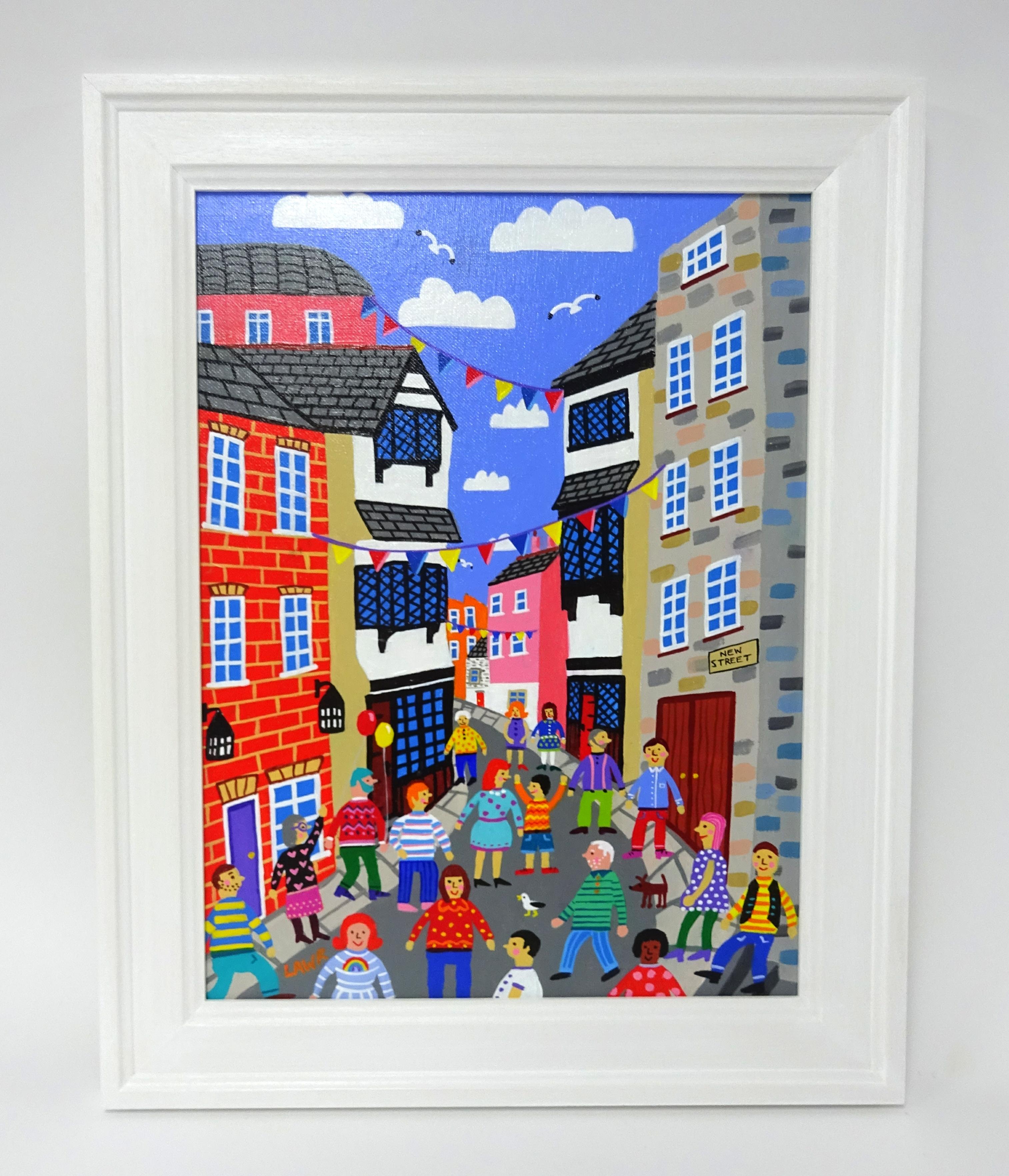 Lot 004 - Arth Lawr, original acrylic on board 'New Street, The Barbican, 2019' signed, 40cm x 30cm, consigned
