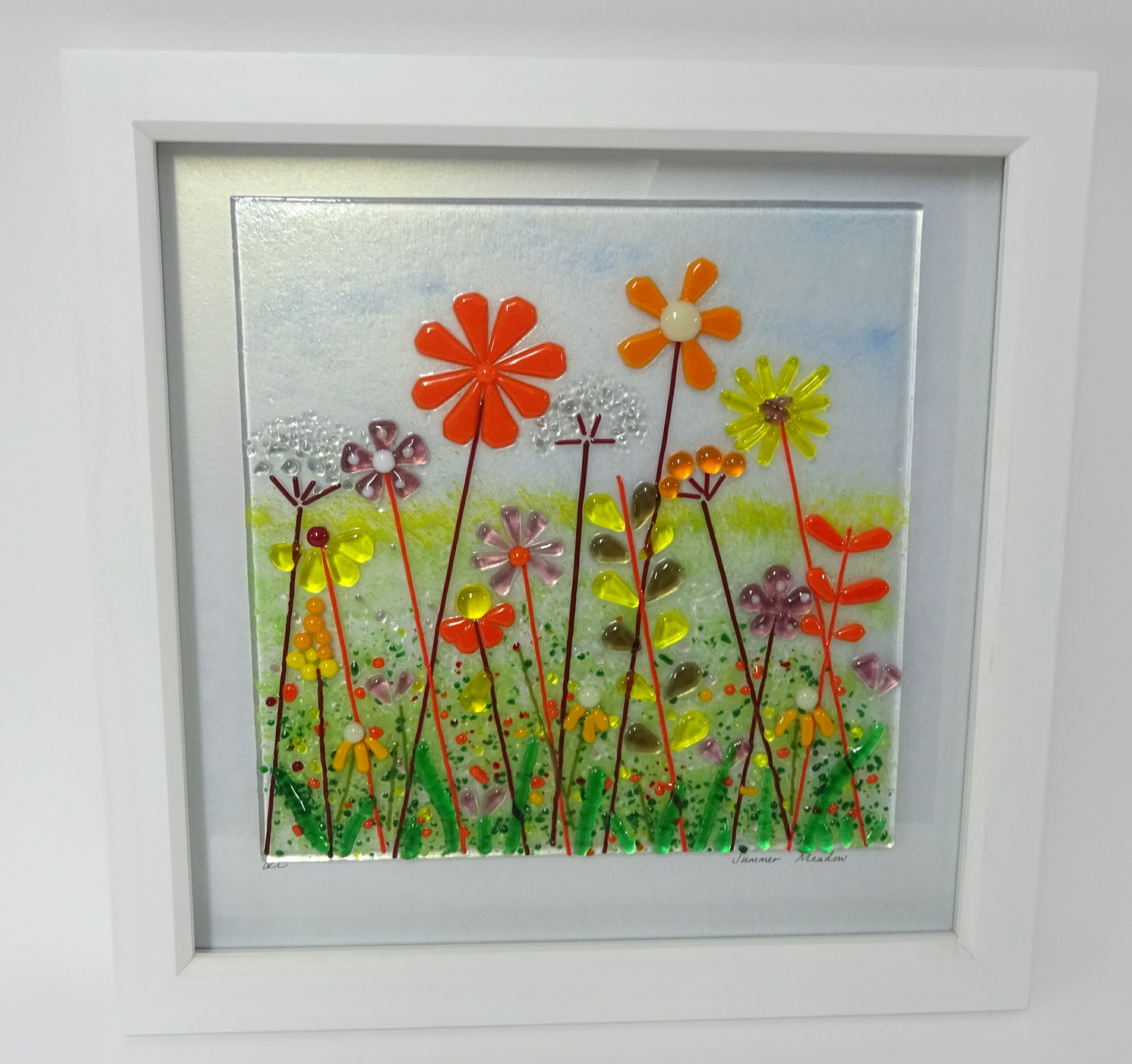 Lot 008 - Lou from Lou C fused glass, original glass work, titled 'Summer Meadow', frame size 30cm x 30cm,