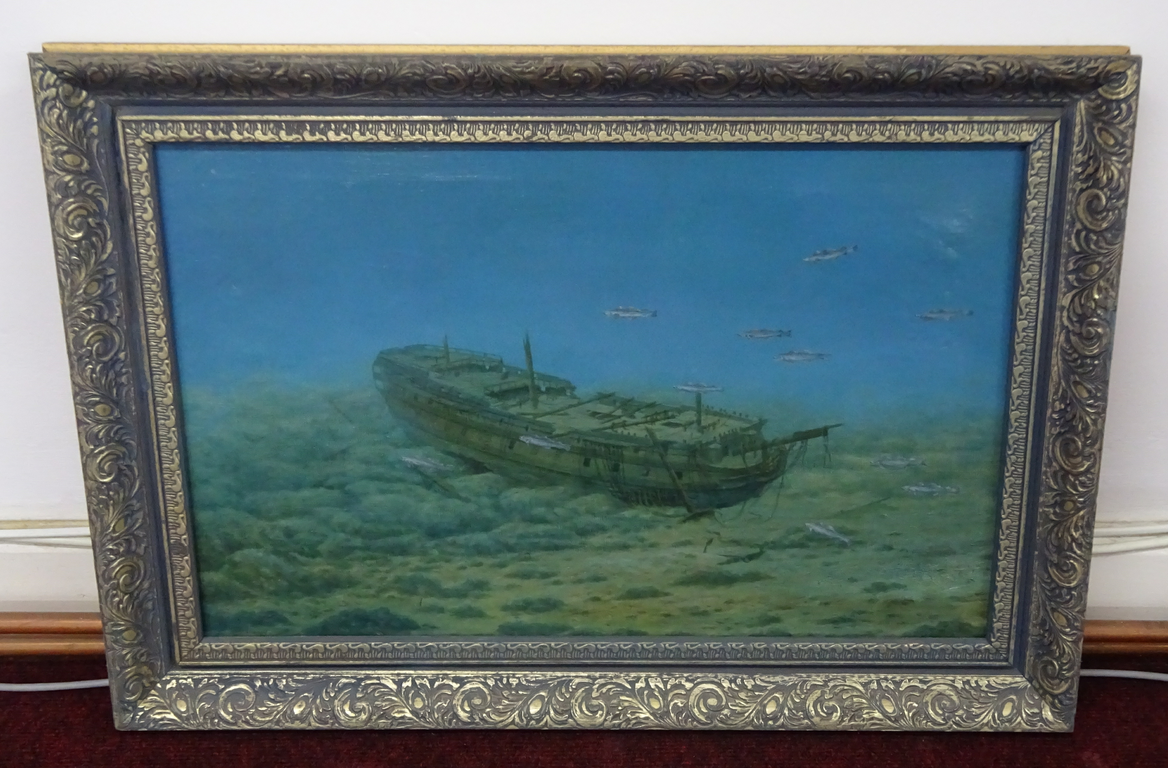 Lot 021 - Peter Power, oil on canvas, study of wrecked ship on a sea bed Remallis Cornwall, signed and