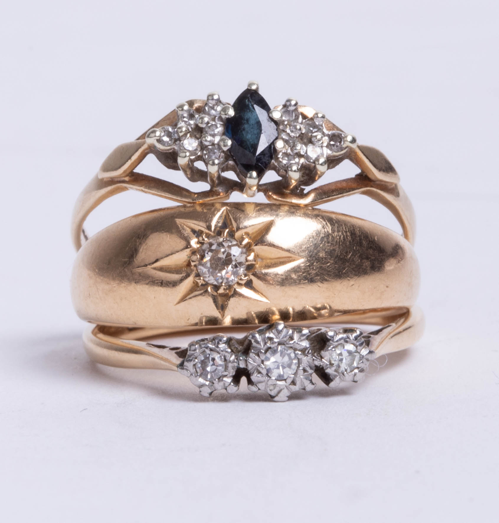 Lot 037 - Two 18ct rings (approx 6.20g) comprising gypsy ring and diamond illusion set ring also a 9ct diamond