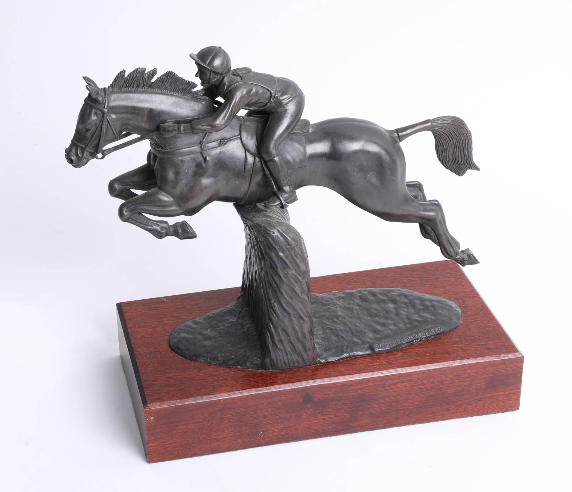 Lot 009 - Timothy Simmons 1993 bronze effect sculpture of jockey on wood plinth total height 28cm.