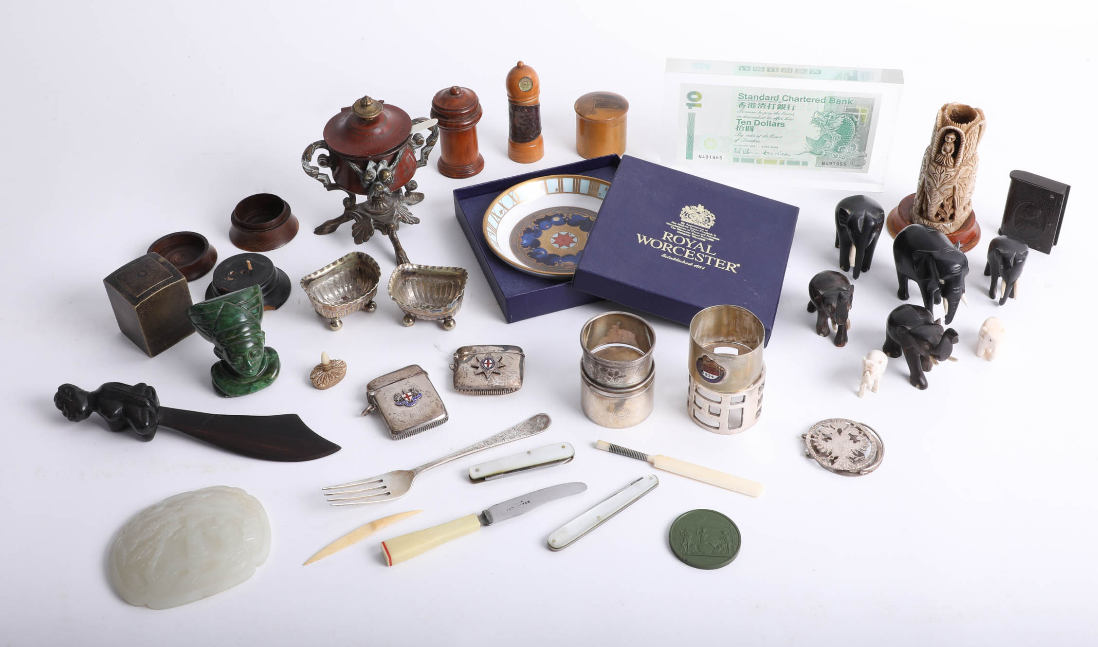 Lot 008 - Interesting collection of objects including wood ware, EP salts, Malachite type paperweight,