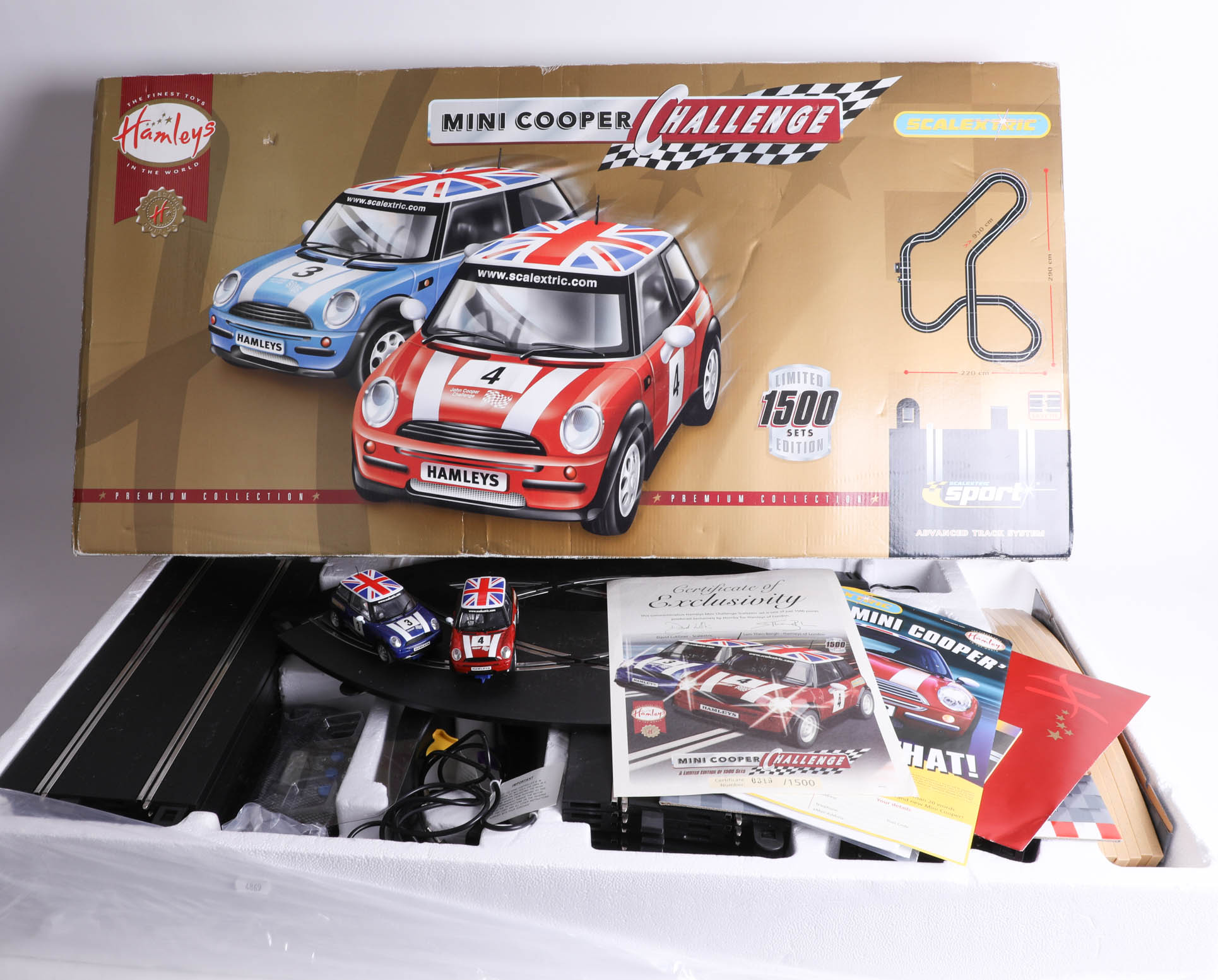 Lot 014 - A Hamley's 'Mini Cooper Challenge' Scalextric set, limited edition 319/1500 with certificate,