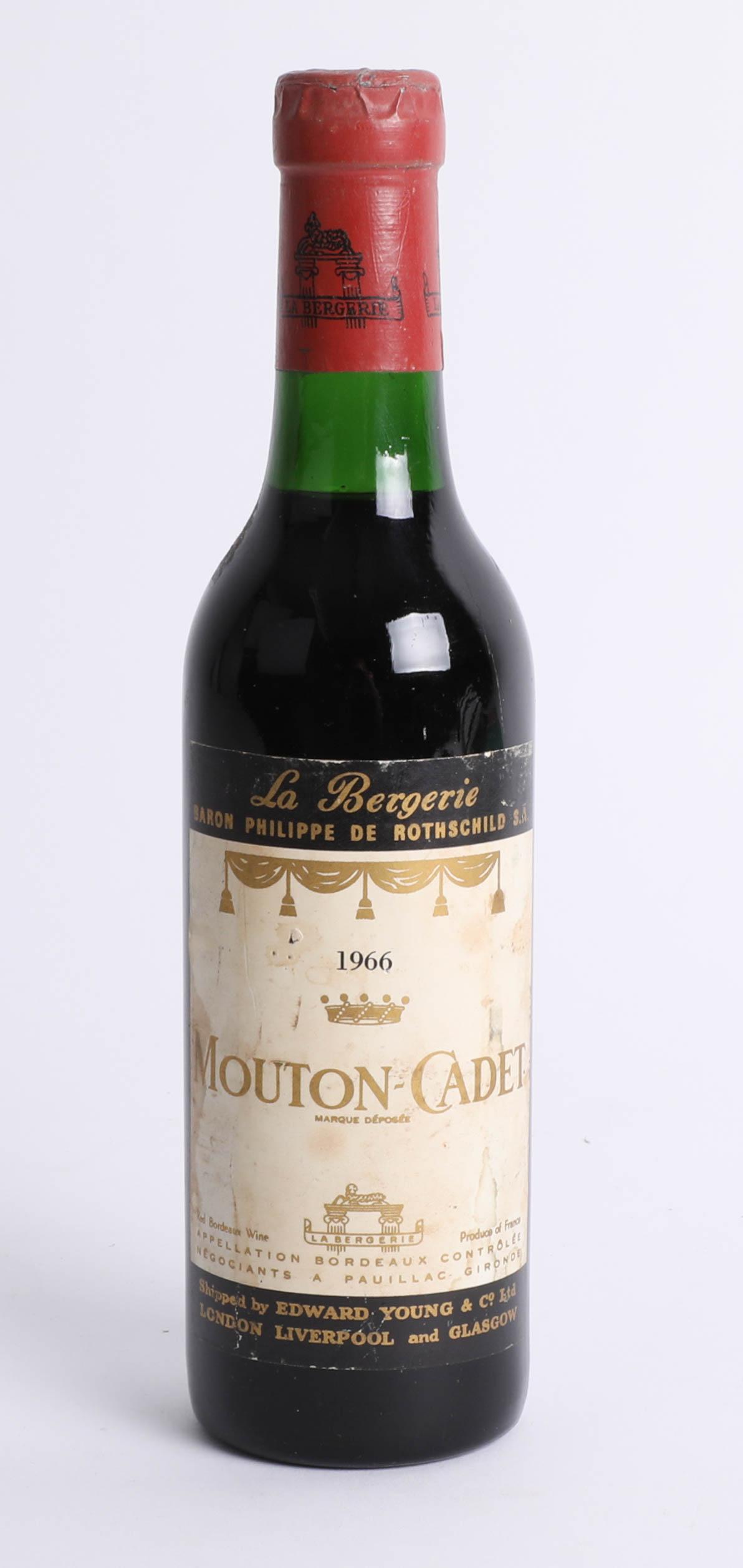 Lot 028 - A half bottle of 1966 Mouton-Cadet red wine.