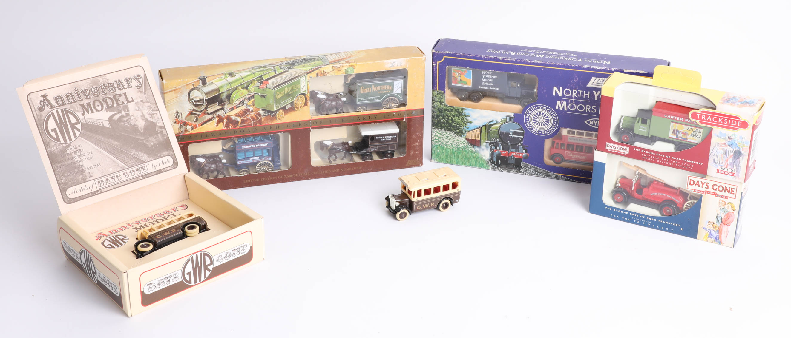 Lot 038 - Nine diecast models including 'Railway Road Vehicles of the Early 1900s' by Lledo. (9)
