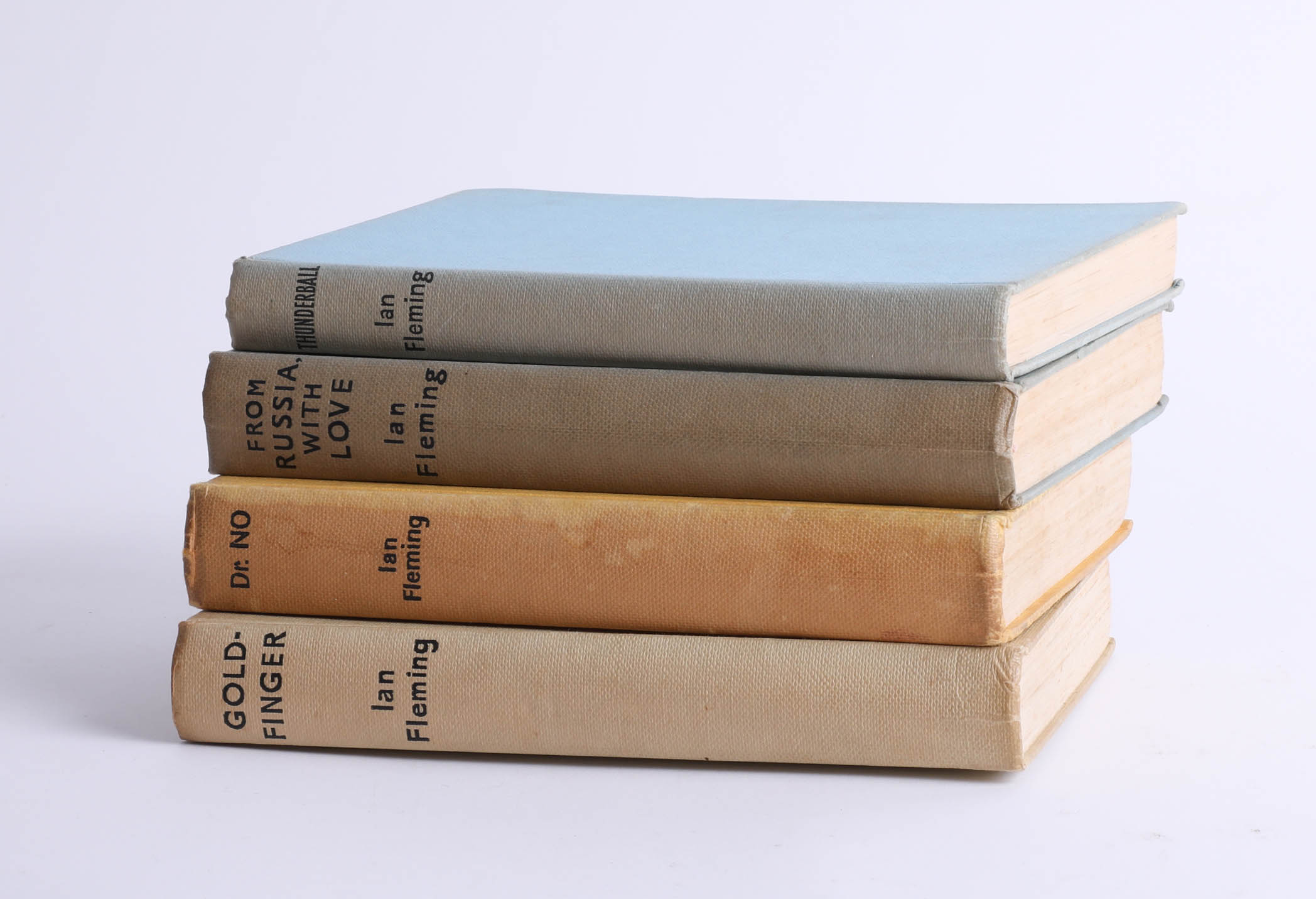 Lot 017 - Four James Bond book club novels, including Dr No, Thunder Ball, Gold Finger, and From Russia With