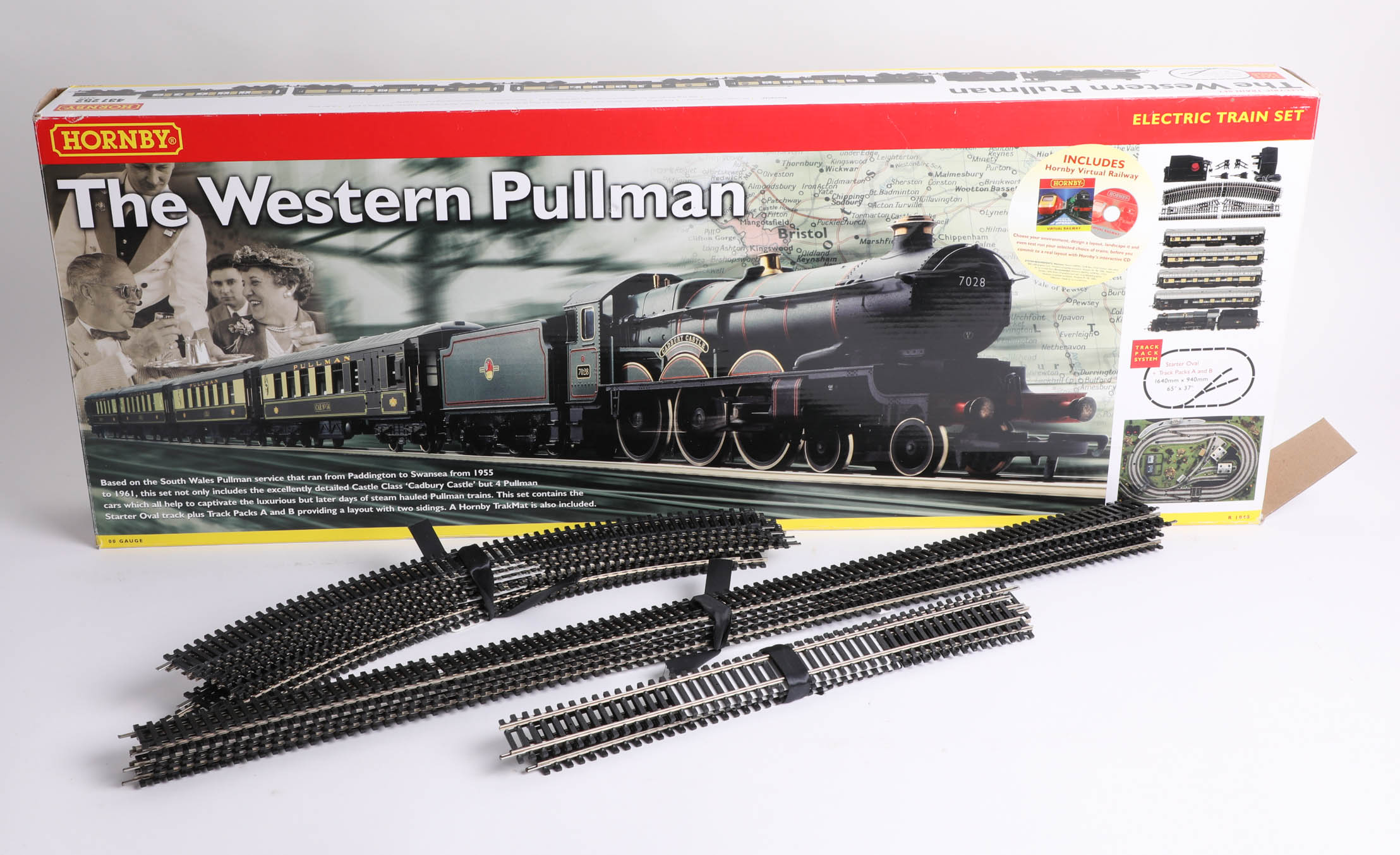 Lot 013 - A Hornby train set 'The Western Pullman', including one locomotive, four carriages, a coal cart