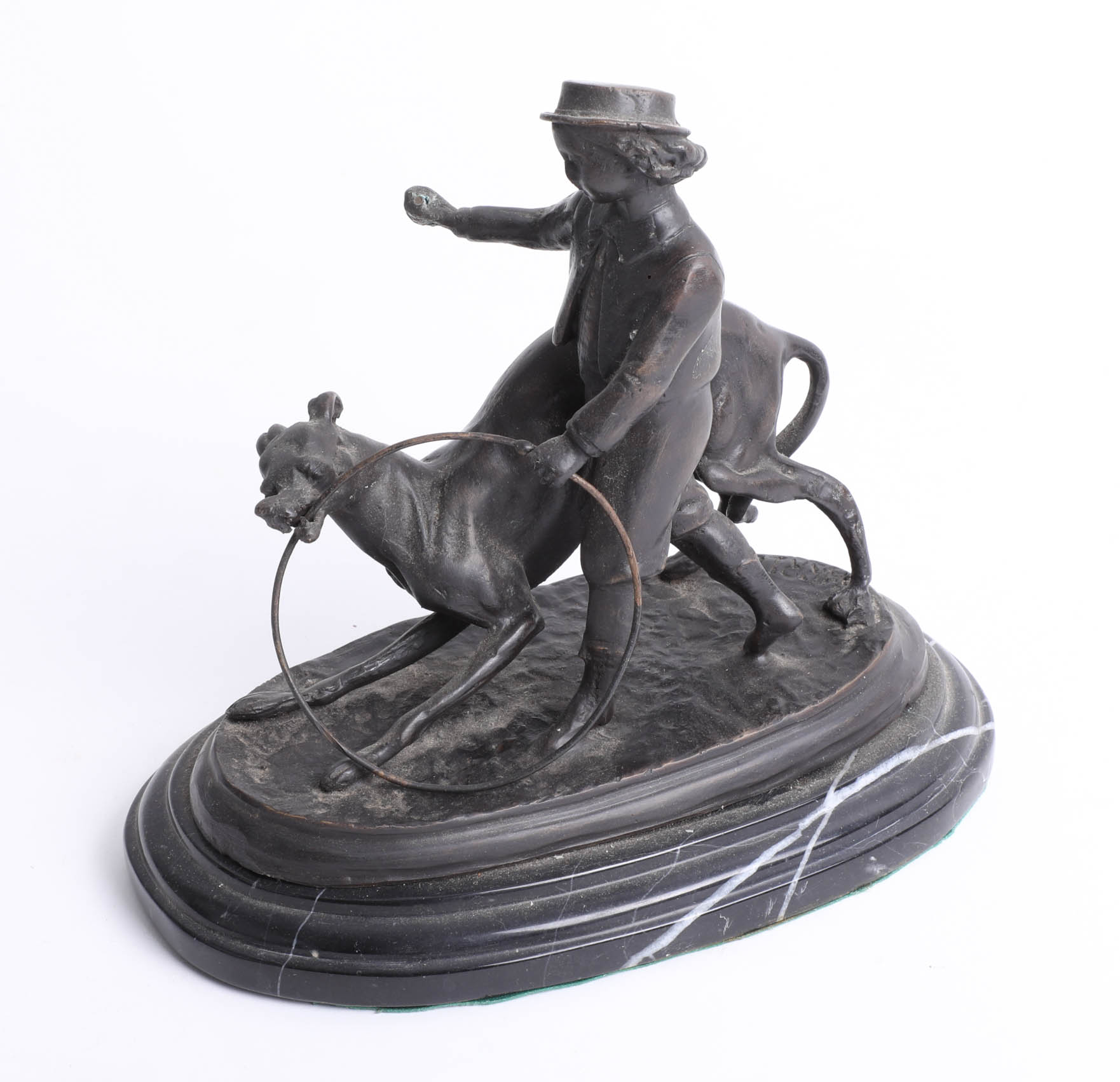 Lot 010 - After Barrie bronze sculpture of a girl walking a dog with a hoop on plinth, height 19cm.