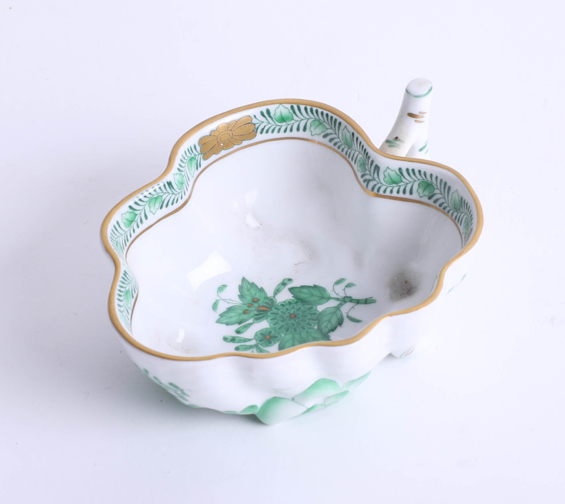 Lot 026 - A Herend, Hungarian hand painted porcelain leaf dish.