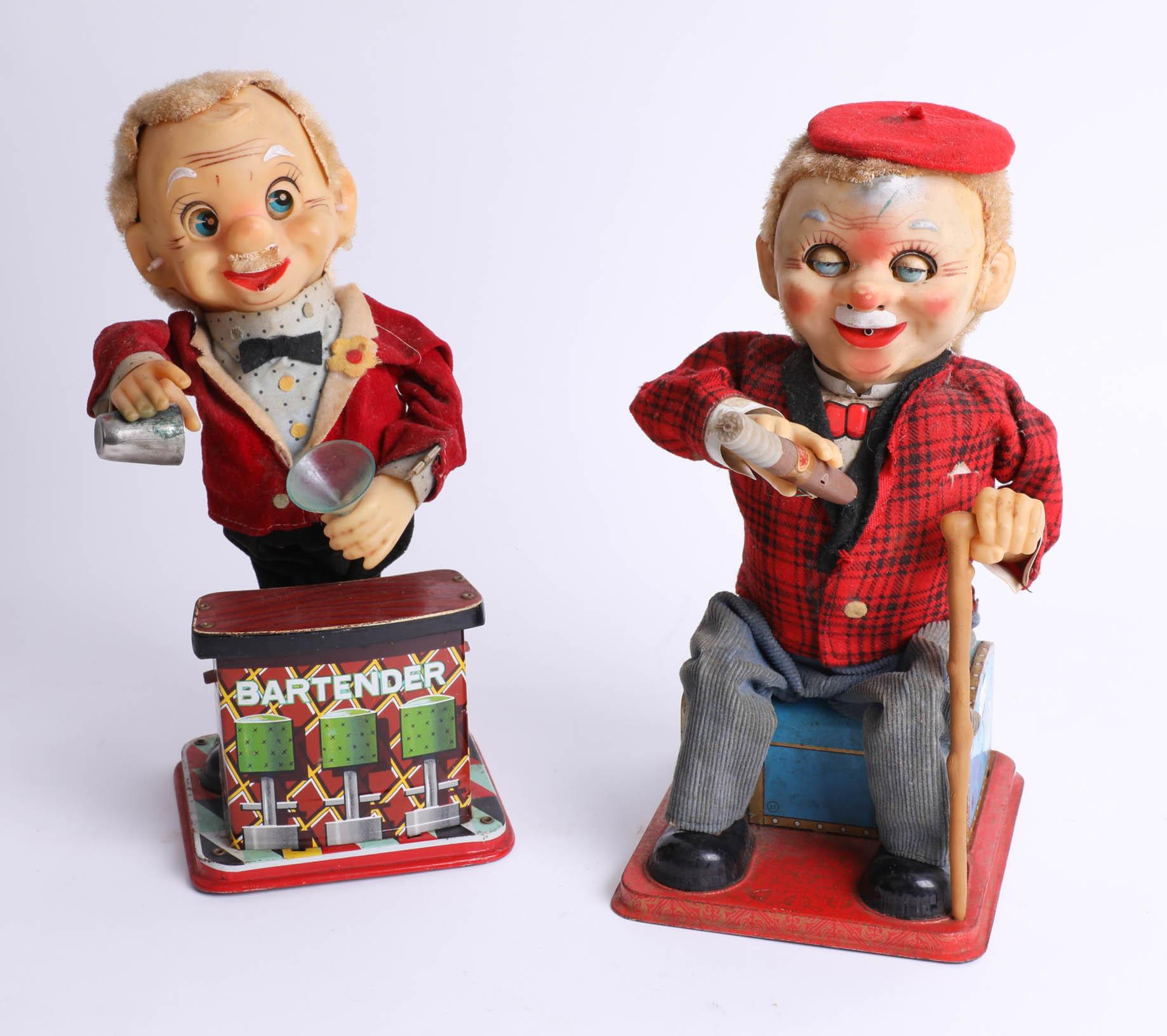 Lot 016 - Two Rosko tinplate Japanese mechanical toys, 'Bartender' and 'McGregor'.
