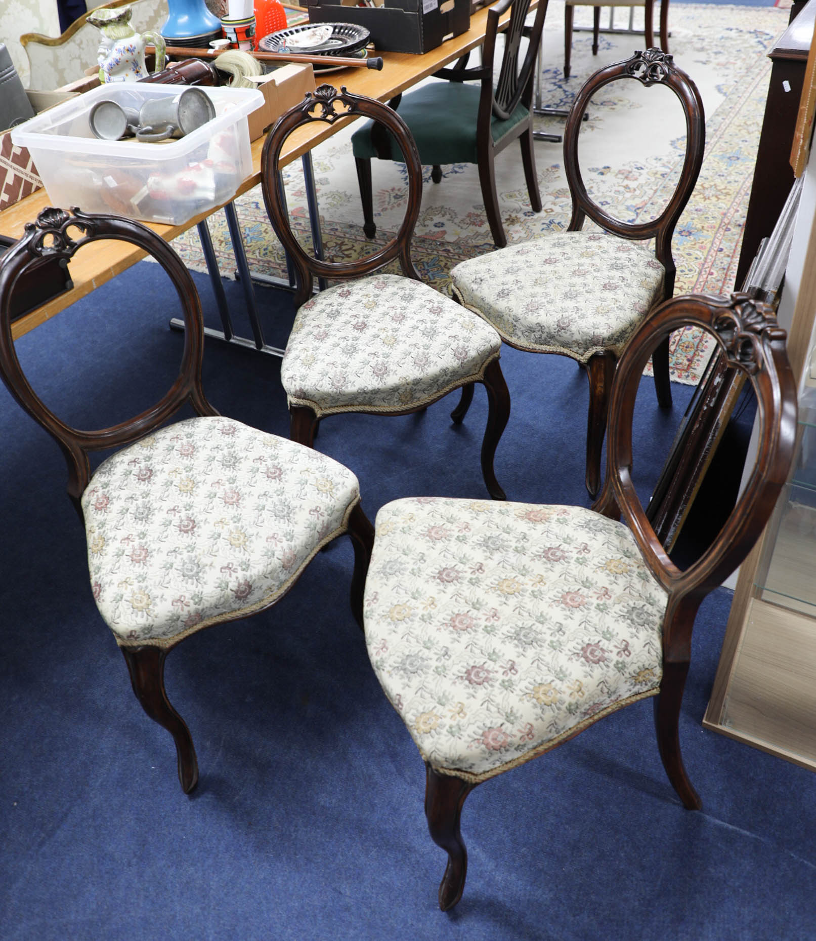 Lot 423 - Four Victorian dining chairs