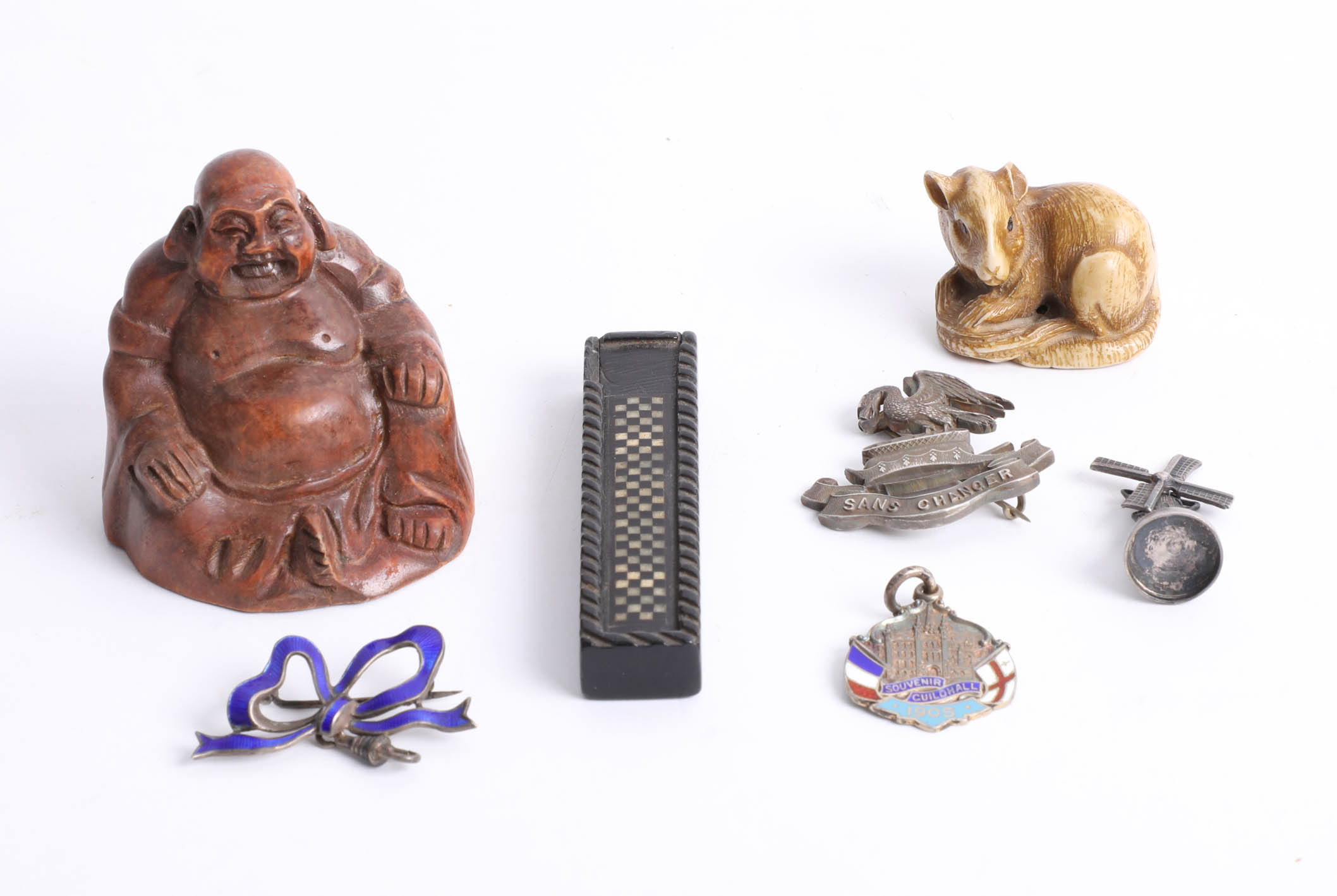 Lot 004 - Various objects including carved wood Buddha, small 19th century inlaid needle box, silver 'Sans