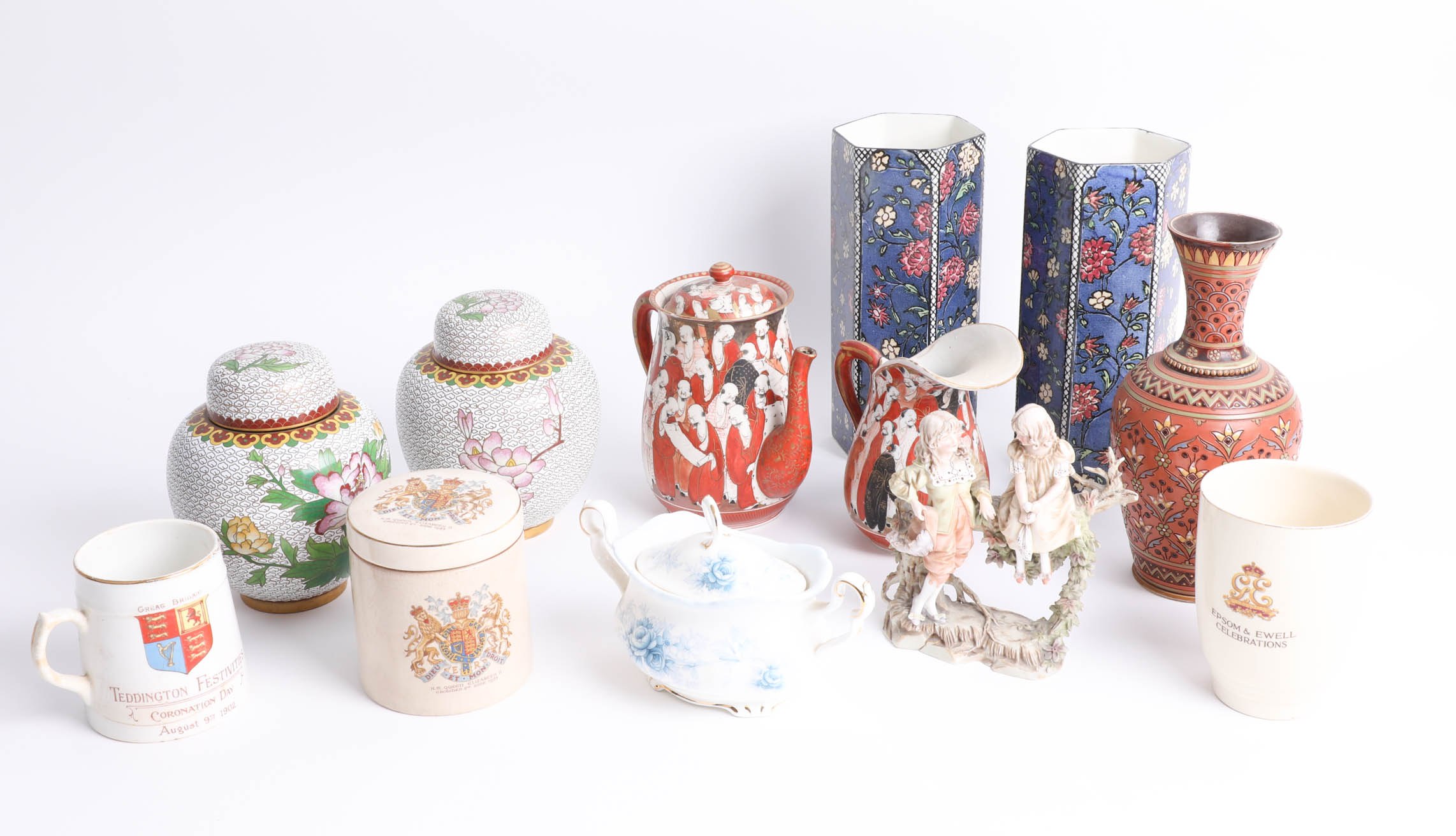 Lot 002 - Mettlach art pottery vase (restored) and other china wares including pair of Doulton art vases,