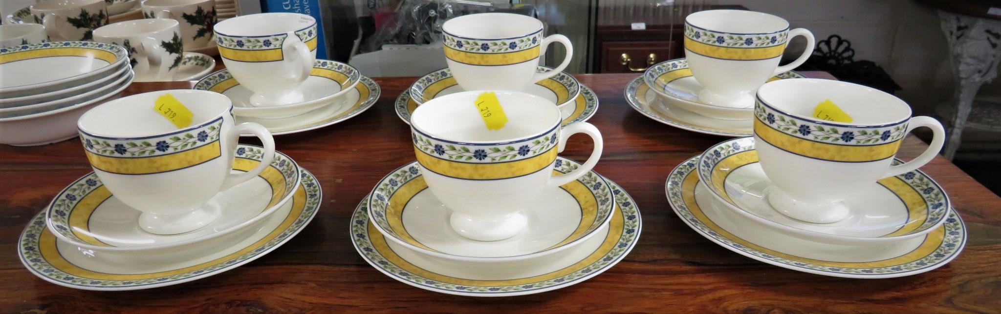 Lot 63 - WEDGWOOD MISTRAL TEA SET - SIX CUPS AND SAUCERS, SIX PLATES, FOUR BOWLS AND A MILK JUG
