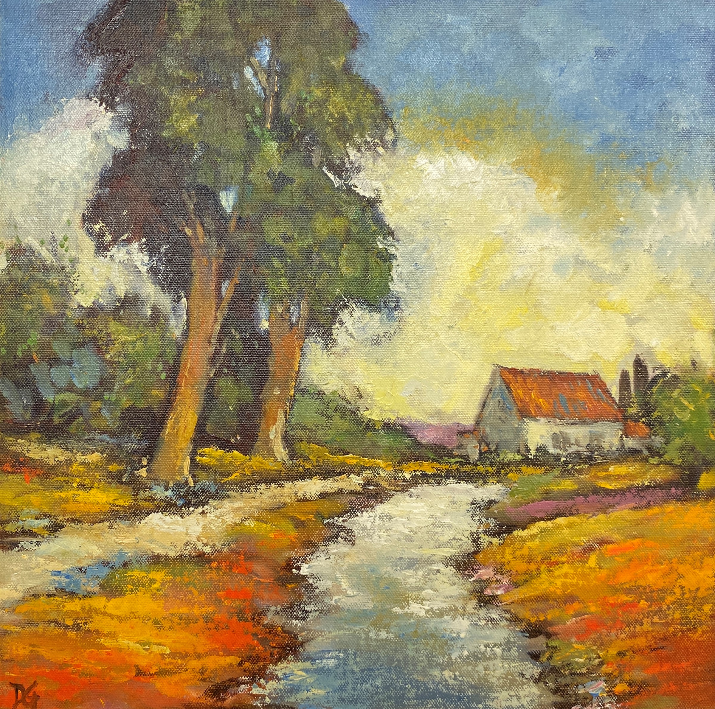 Lot 51 - David Gainford - 'Path to the Farm France', oil on board, (38.5cm x 38.5cm), initialled DG lower