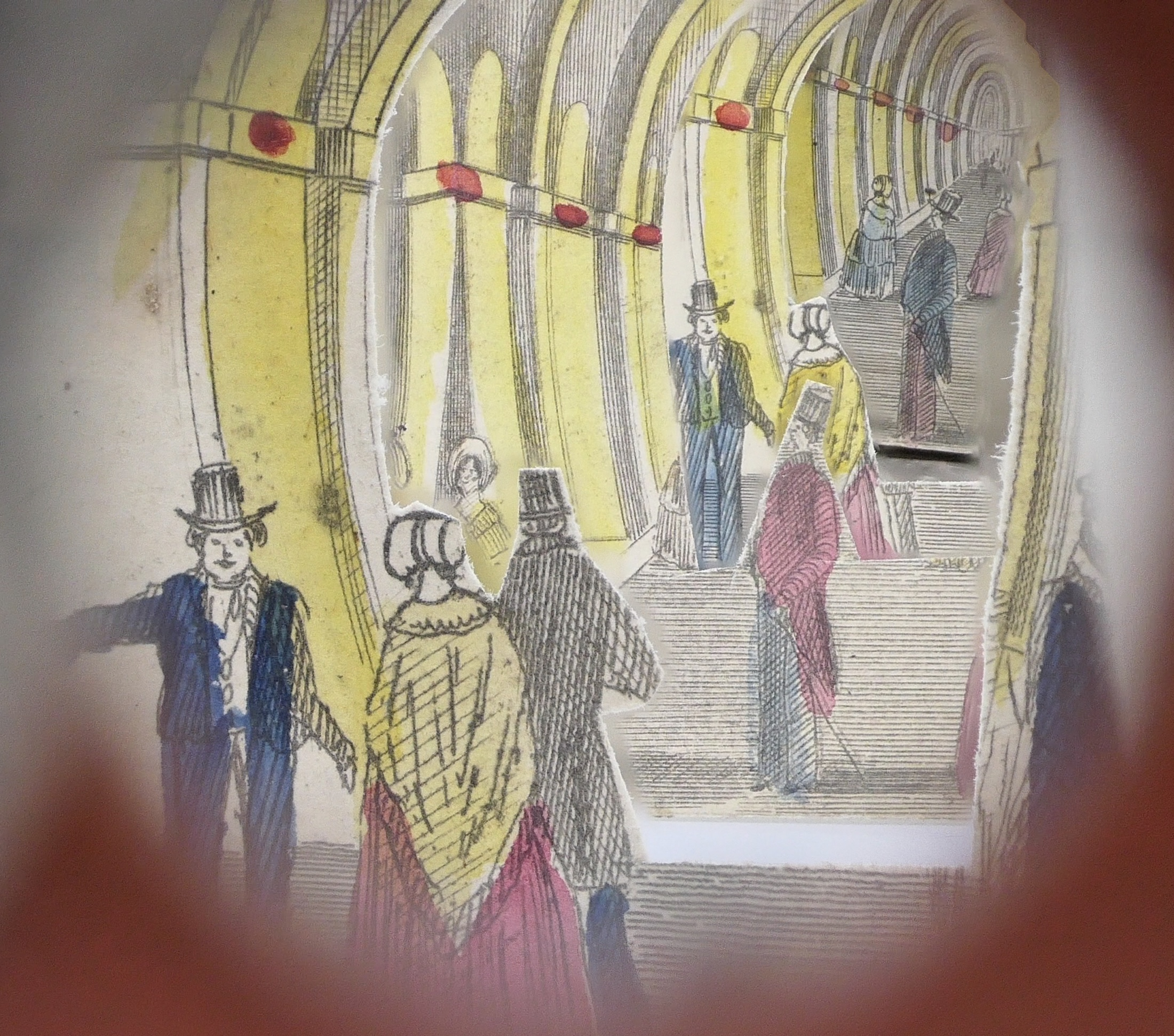 Lot 155 - Victorian tunnel book perspective diorama of the Thames Tunnel, engraved with hand colouring,