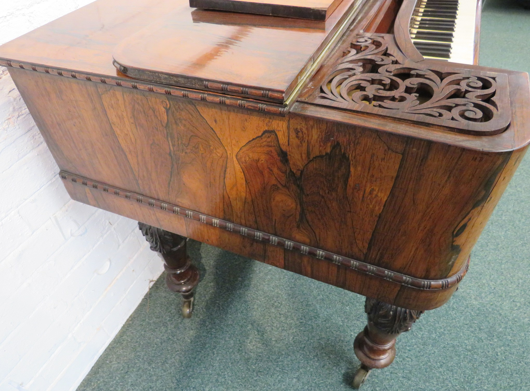 Lot 172 - Collard and Collard mahogany and rosewood square piano, bearing gilded label 'PATENT COLLARD &