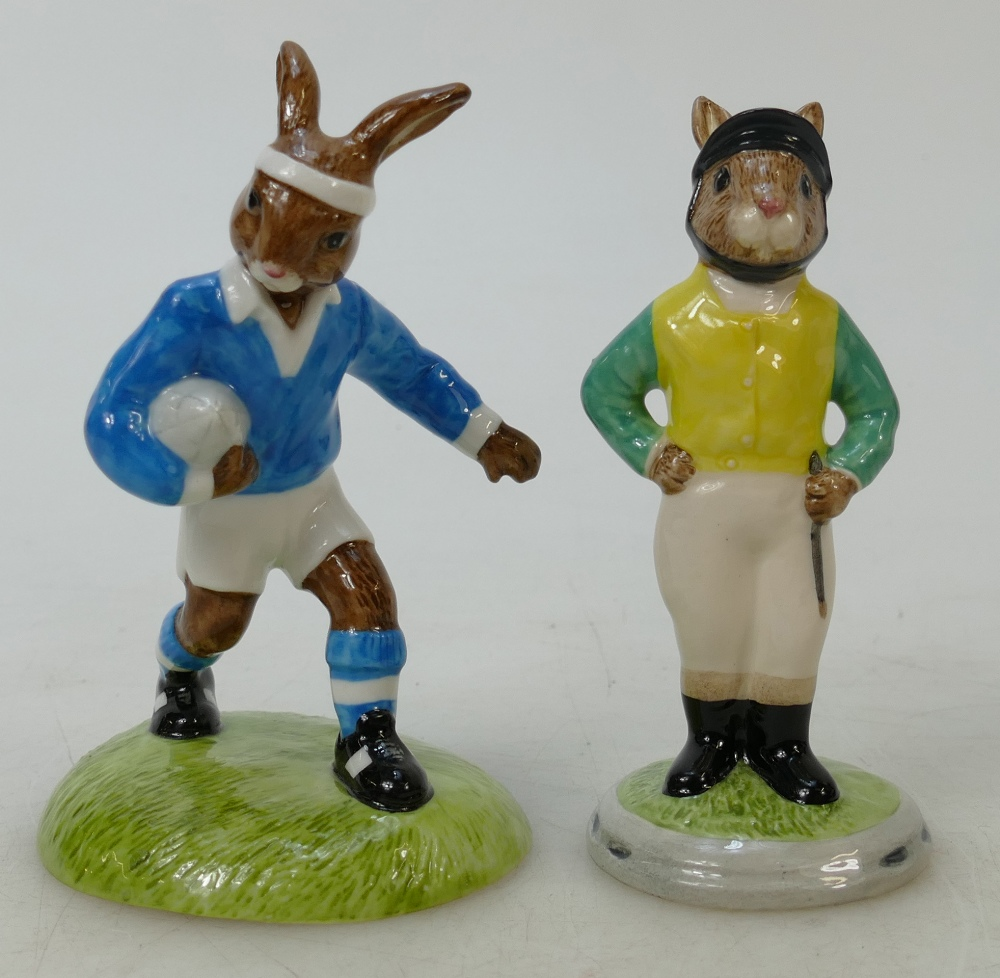 Lot 21 - Royal Doulton Bunnykins figures Jockey and Rugby Player: Jockey DB169 and Rugby Player DB318 both