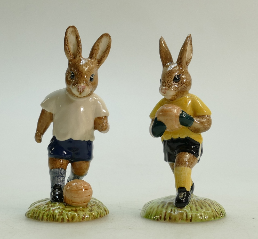 Lot 5 - Royal Doulton pair of Bunnykins footballer figures: Royal Doulton Bunnykins footballer figures