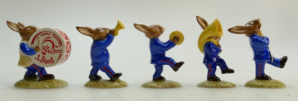 Lot 4 - Royal Doulton set of Bunnykins figures The Blue Oompah band: Royal Doulton Bunnykins blue band