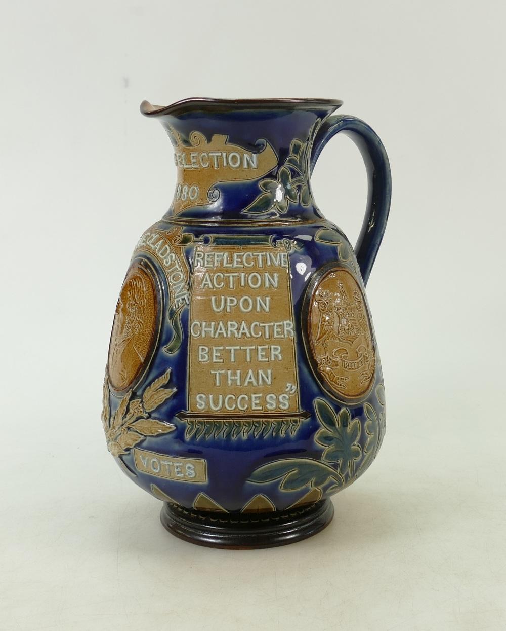 "Lot 456 - Doulton Lambeth Stoneware Gladstone Election Jug: 19th Century Doulton Lambeth jug ""Leeds Election"