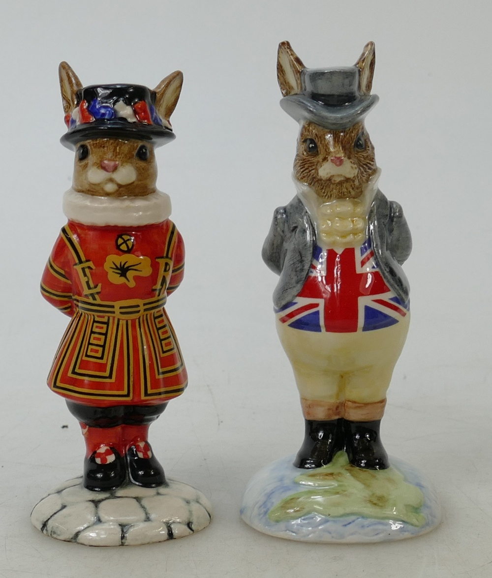Lot 17 - Royal Doulton Bunnykins figures Beefeater and John Bull: Beefeater DB163 boxed together with John