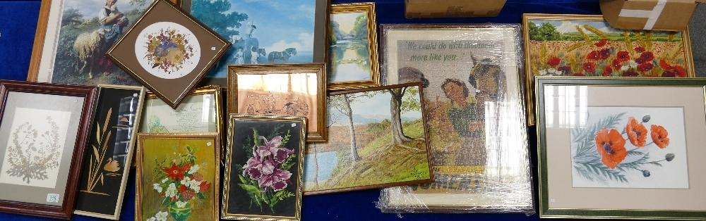 Lot 115 - A large collection of framed art work : wild flower pressings, still life studies and land scape