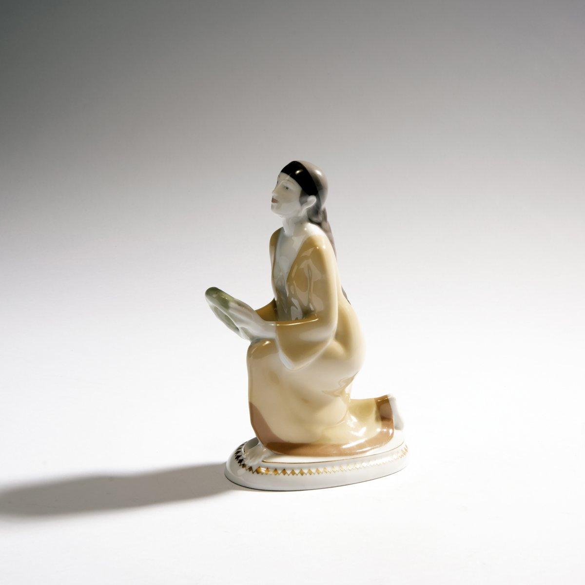 Lot 55 - Adolph Amberg, 'Kneeling Caucasian woman', 1910'Kneeling Caucasian woman', 1910H. 19.9 cm. Made by