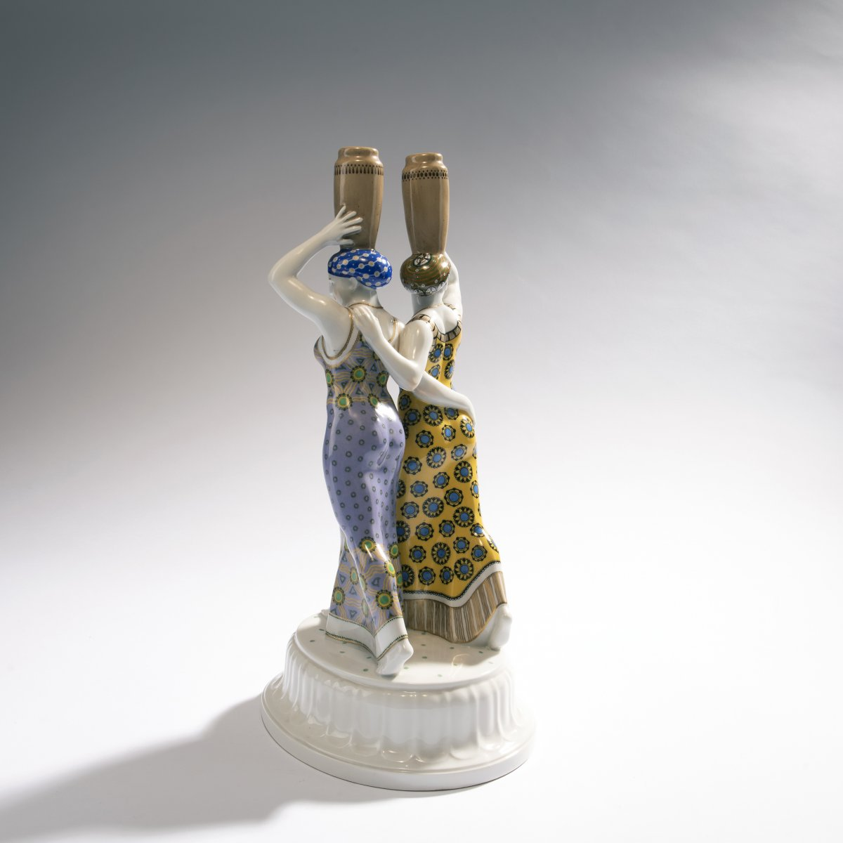 Lot 40 - Adolph Amberg, 'Two Greek women', 1909'Two Greek women', 1909H. 39 cm. Made by KPM Berlin,