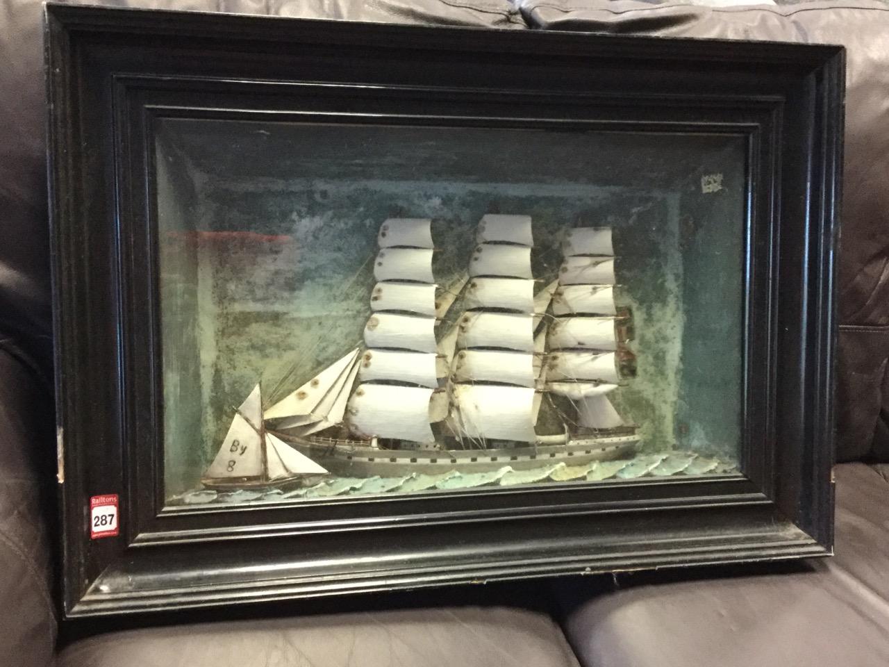 Lot 7 - A nineteenth century marine diorama of a three masted sailing ship named Rosina, with fishing