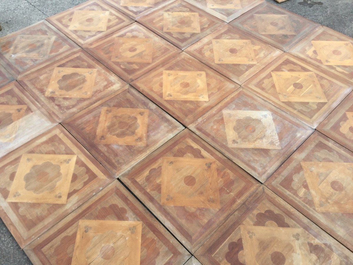 Lot 1 - A set of 25 Victorian square parquetry floor panels by The London Parquetry Works, Camberwell,