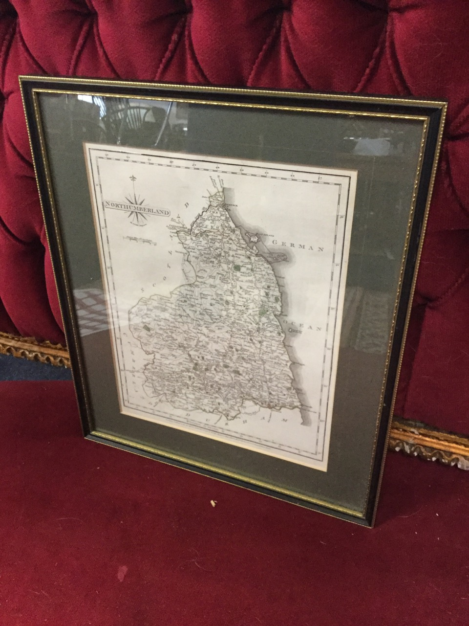 Lot 14 - A nineteenth century handcoloured map of Northumberland after Cary, the plate with glazed verso