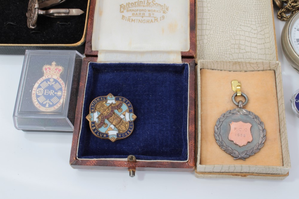 Lot 3503 - Collection of medals, predominantly football including ne 9ct gold medal, various silver, cuff