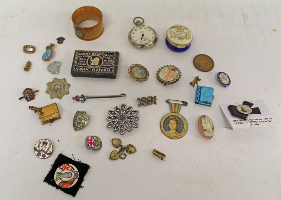 Lot 3588 - Royal commemorative badges, open faced pocket watch, Mauchline Ware napkin ring and sundries