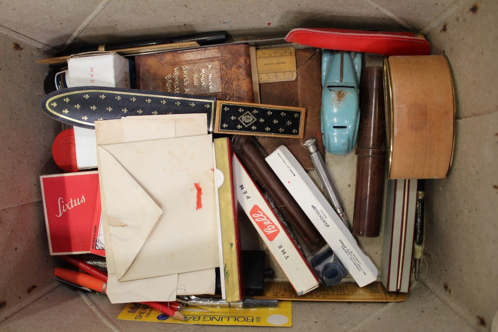 Lot 3506 - Collection of vintage stationery, pens, drawing apparatus, various other items