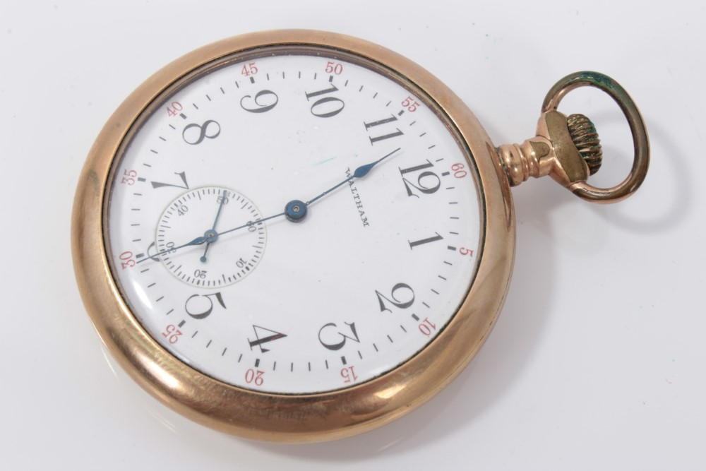 Lot 3209 - Waltham gold plated pocket watch and silver full hunter pocket watch (2)