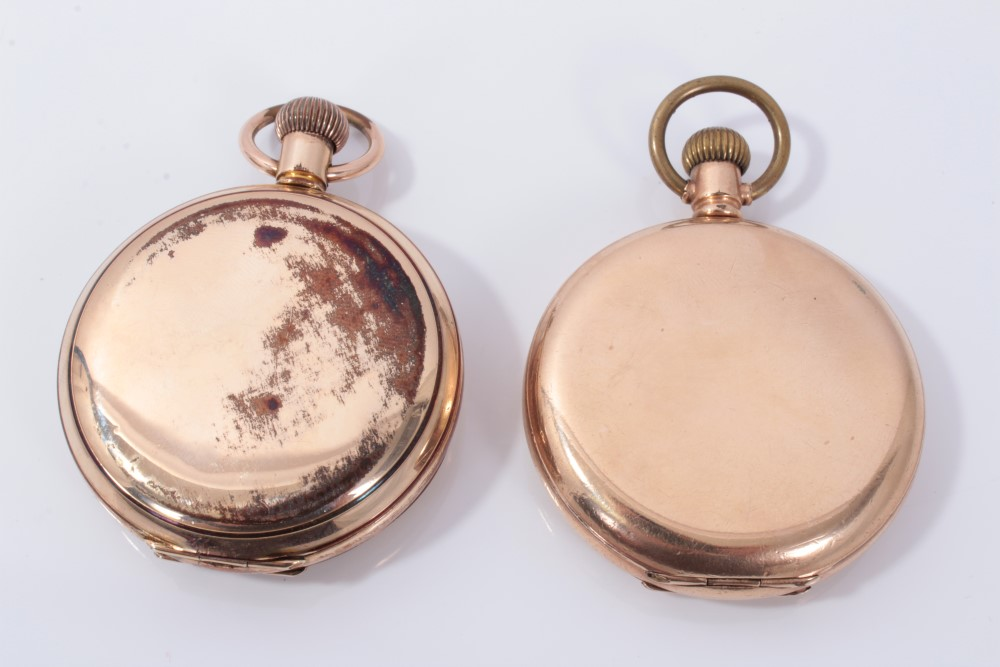Lot 3422 - Two gold plated full hunter pocket watches