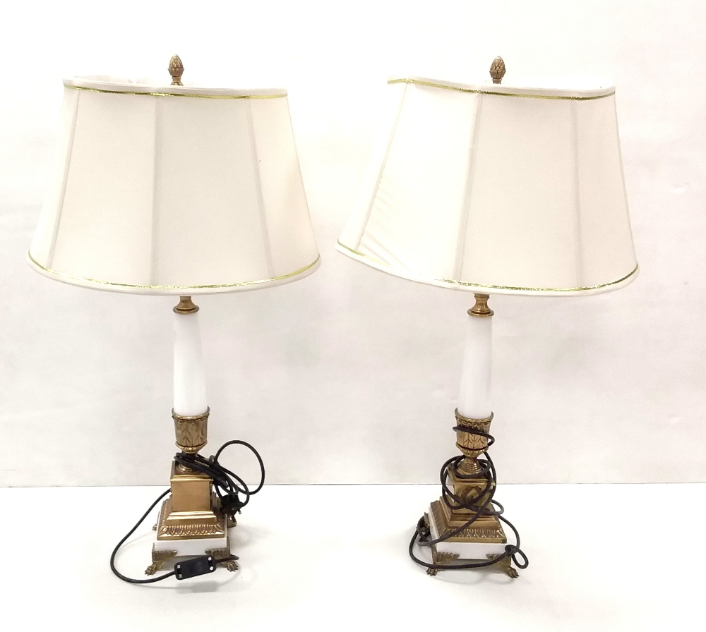 Lot 47 - Pair of Heavy Brass & Marble Table Lamps & Shades