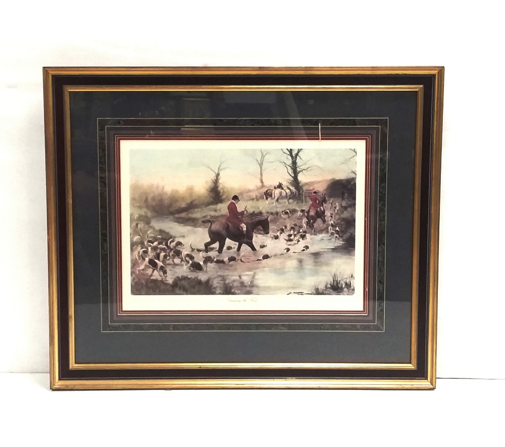 Lot 15 - Large Hunting Scene ' Crossing the Ford'