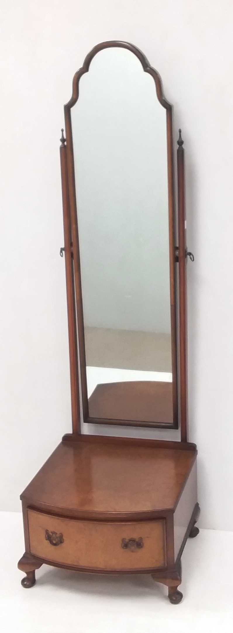 Lot 42 - Walnut Cheval Mirror with Single Drawer to Base