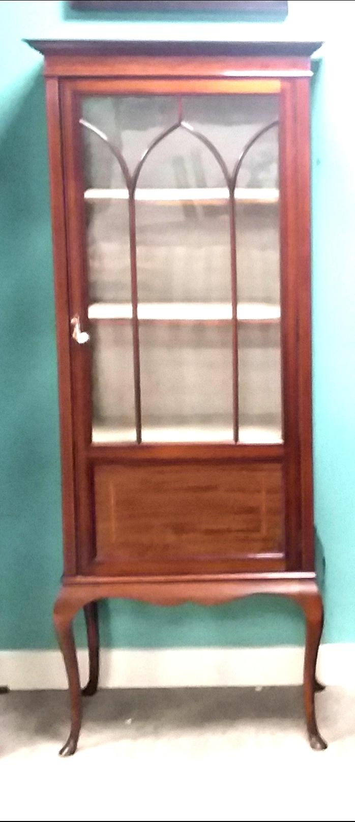 Lot 29 - Edw Inlaid Mahogany Single Door Display Cabinet Dimensions: 79cm W 39cm D 175cm H