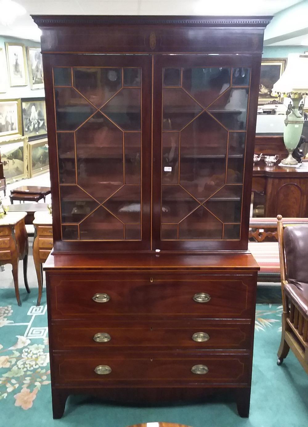 Lot 287 - Stunning Quality Georgian Inlaid Mahogany Secretaire 2 Door Bookcase Dimensions: 117cm W 54cm D