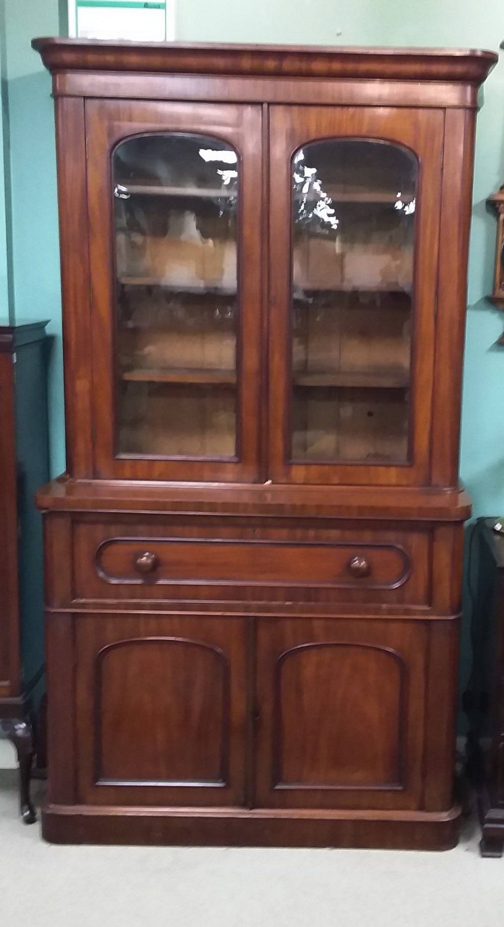 Lot 39 - Vict Mahogany Arched Door Secretaire Bookcase Dimensions:130cm W 50cm D 220cm H