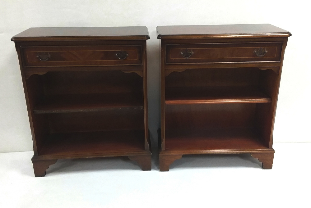 Lot 305 - Pair of Mahogany Inlaid Open 1 Drawer Bookshelves Dimensions: 62cm W 30cm D 74cm H