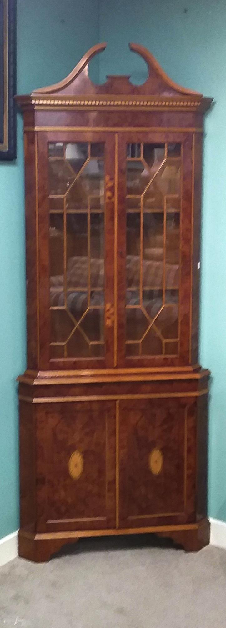 Lot 31 - Quality Yewwood Corner Display Cabinet Dimensions: 85cm W 54cm D 213cm H