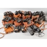 Lot 487 - A BOX OF CONTAINING TWELVE PAIRS OF BINOCULARS, Military & Civilian use, WWI era to present day,