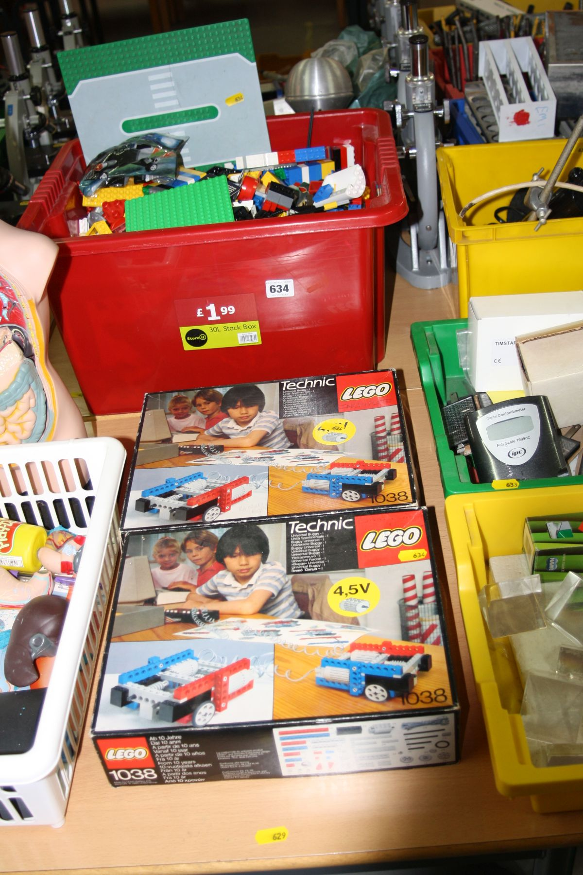 Lot 634 - TWO INCOMPLETE LEGO TECHNIC SETS 1038, and a box of loose Lego